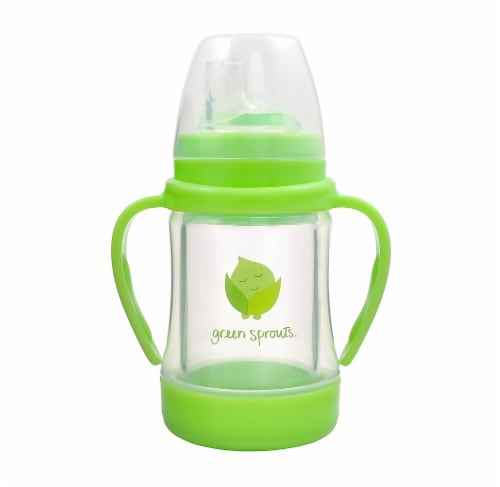 Green Sprouts Baby Glass Sip & Straw - Light Lime Perspective: front