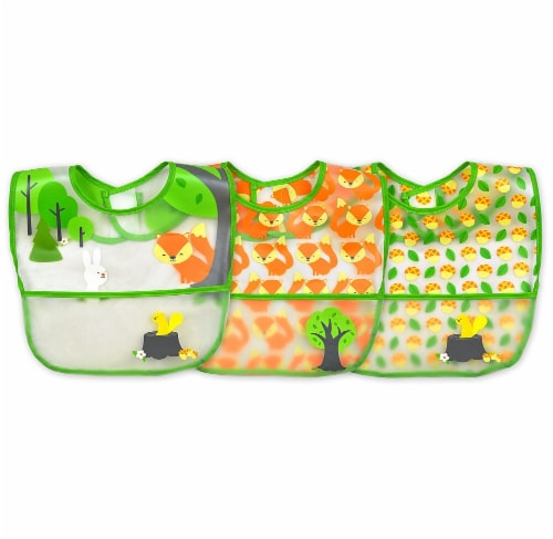 Green Sprouts  Baby Wipe-Off Bibs 3 Pack Green Fox Set 9-18 months Perspective: front