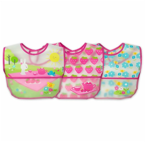 Green Sprouts  Baby Wipe-Off Bibs 3 Pack Pink Picnic Set 9-18 months Perspective: front