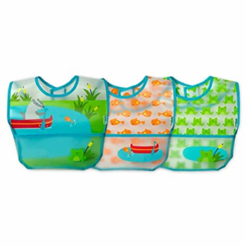 Green Sprouts  Baby Wipe-Off Bibs 3 Pack Aqua Pond Set 9-18 months Perspective: front