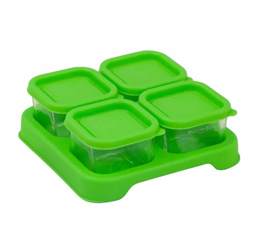 Green Sprouts  Fresh Baby Food Glass Cubes 2 oz Green Perspective: front