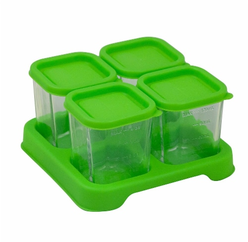 Green Sprouts  Fresh Baby Food Glass Cubes 4 oz Green Perspective: front