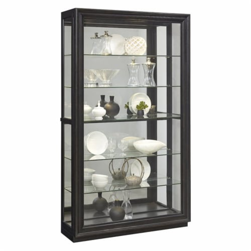 Home Fare Rockford Mirrored Two Way Sliding Door Curio Perspective: front