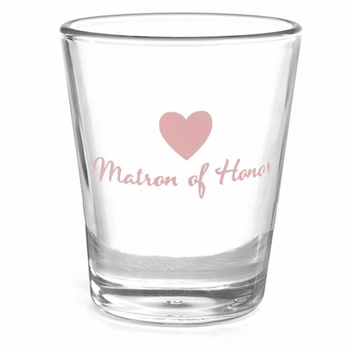 Heart Party Wedding Shot Glass Matron of Honor - Blank Perspective: front