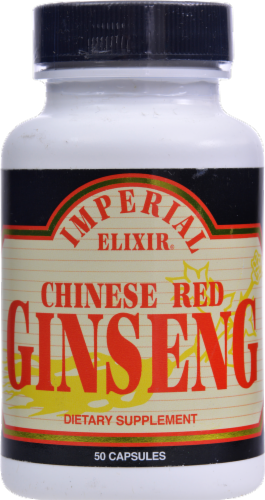 Imperial Elixir Chinese Red Ginseng Dietary Supplement Capsules Perspective: front