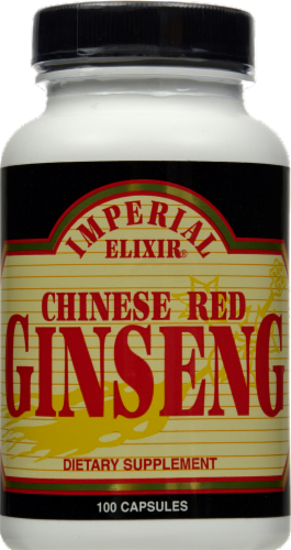 Imperial Elixer Chinese Red Ginseng Dietary Supplement Capsules Perspective: front