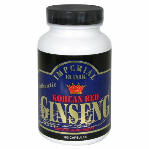 Imperial Elixir Korean Red Ginseng Dietary Supplement Capsules Perspective: front