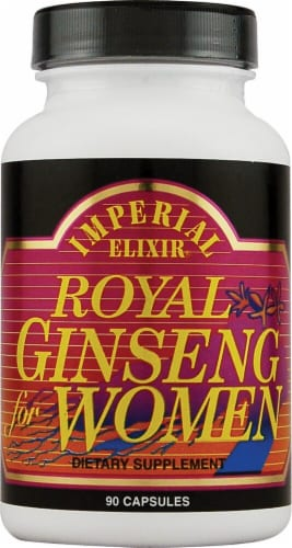 Imperial Elixir Royal Ginseng for Women Dietary Supplement Capsules Perspective: front