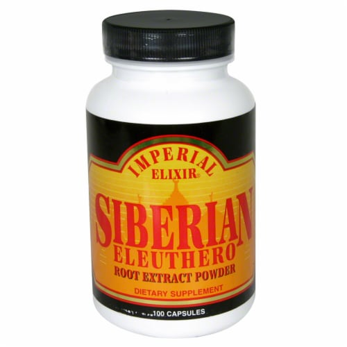 Imperial Elixir Siberian Eleuthero Root Extract Powder Dietary Supplement Capsules 2500mg Perspective: front