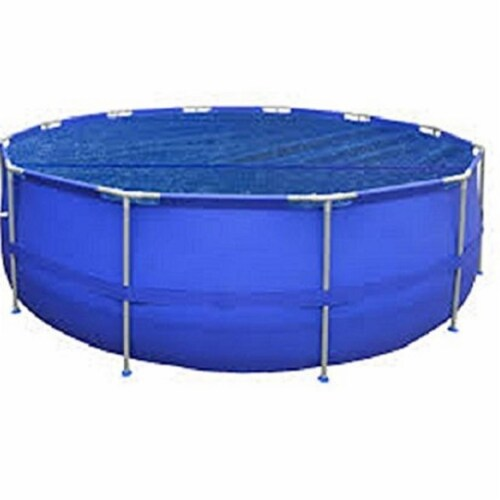 Pool Central 32588820 10.8 in. Round Blue Floating Solar Cover for Steel Frame Swimming Pool Perspective: front