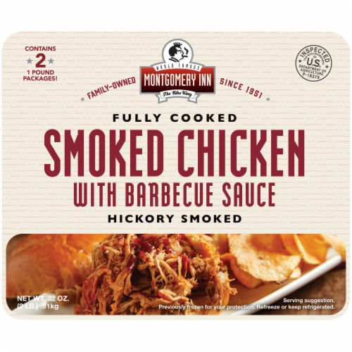 Montgomery Inn Fully Cooked Hickory Smoked Chicken with Barbecue Sauce Perspective: front