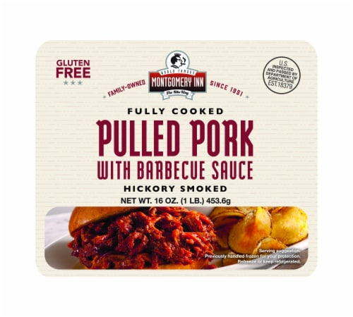 Montgomery Inn Fully Cooked Hickory Smoked Pulled Pork with Barbecue Sauce Perspective: front