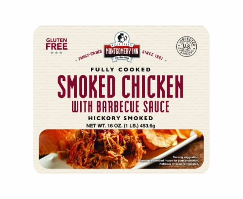 Montgomery Inn Fully Cooked Hickory Smoked Pulled Chicken with Barbecue Sauce Perspective: front