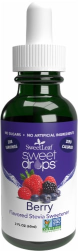 Sweet Leaf Liquid Stevia Sweet Drops Berry Flavored Liquid Drops Perspective: front