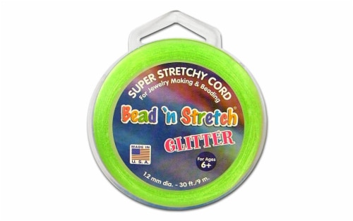 Toner Bead N Stretch Cord 1.2mm Glitter Lime 30ft Perspective: front