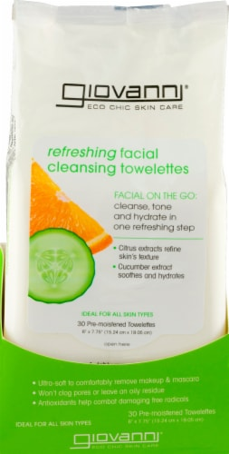 Giovanni  Facial Cleansing Towelettes - Refreshing Citrus and Cucumber Perspective: front