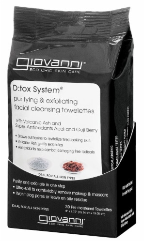 Giovanni  D:tox System® Facial Cleansing Towelettes Perspective: front