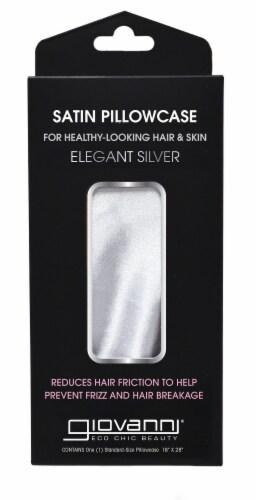 Giovanni Elegant Satin Pillowcase - Silver Perspective: front
