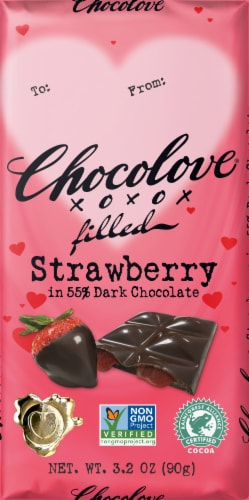 Chocolove Strawberry in Dark Chocolate Candy Bar Perspective: front