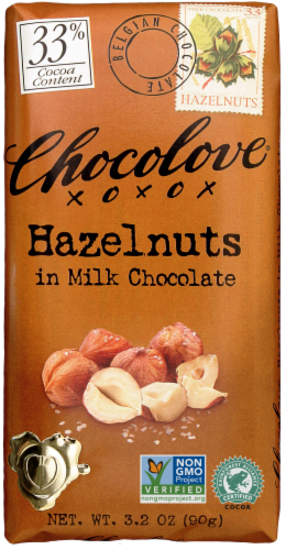 Chocolove Hazelnuts in Milk Chocolate Bar Perspective: front
