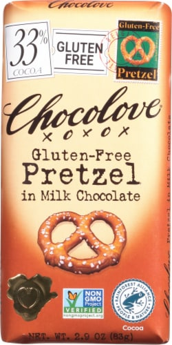Chocolove Pretzel in Milk Chocolate Bar Perspective: front