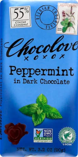 Chocolove Peppermint in Dark Chocolate Bar Perspective: front