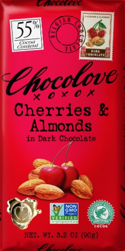 Chocolove Cherries & Almonds in Dark Chocolate Perspective: front