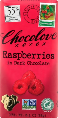 Chocolove Raspberries in Dark Chocolate Perspective: front