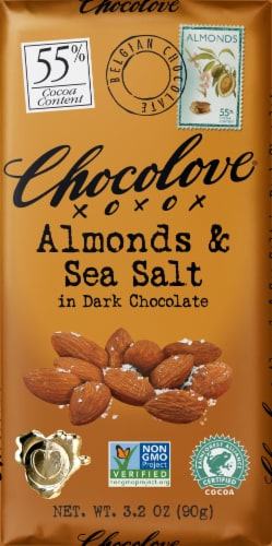 Chocolove Almonds & Sea Salt in Dark Chocolate Bar Perspective: front