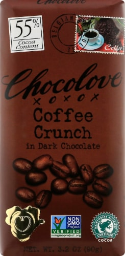 Chocolove Coffee Crunch in Dark Chocolate Bar Perspective: front