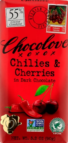 Chocolove Chilies & Cherries in 55% Dark Chocolate Bar Perspective: front