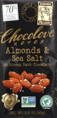 Chocolove Almonds & Sea Salt in Strong Dark Chocolate Bar Perspective: front