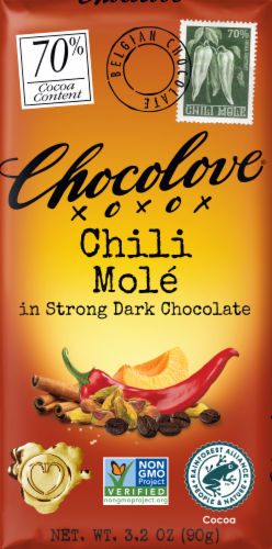Chocolove Chili Mole Strong Dark Chocolate Bar Perspective: front