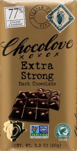 Chocolove Extra Strong Dark Chocolate Bar Perspective: front