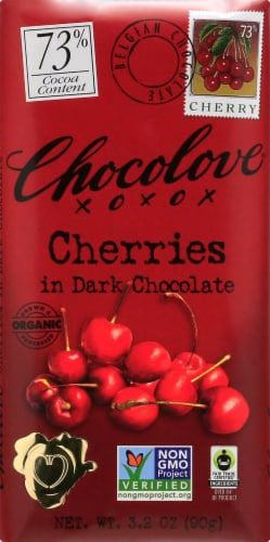 Chocolove Dark Chocolate & Cherries Chocolate Bar Perspective: front