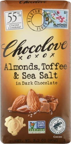 Chocolove Almonds Toffee & Sea Salt in Dark Chocolate Bar Perspective: front