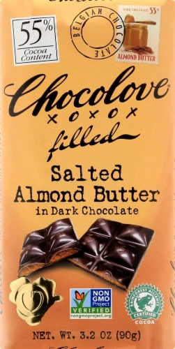 Chocolove Salted Almond Butter in Dark Chocolate Perspective: front