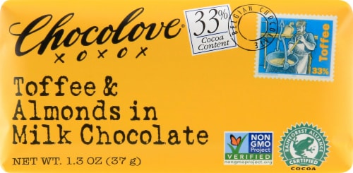 Chocolove Mini Toffee & Almond Milk Chocolate Bar Perspective: front