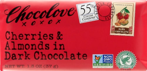 Chocolove Mini Dark Chocolate Cherries & Almonds Bar Perspective: front