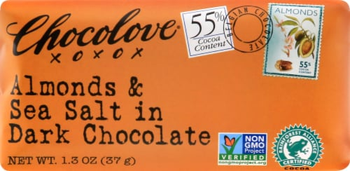 Chocolove Dark Chocolate Almonds & Sea Salt Bar Perspective: front