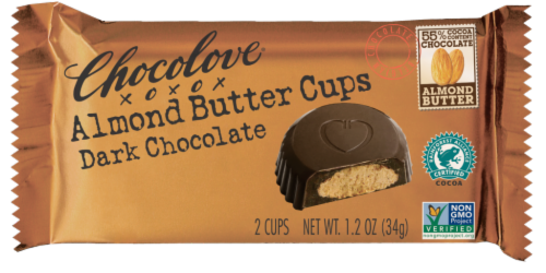Chocolove Dark Chocolate Almond Butter Cups 2 Count Perspective: front