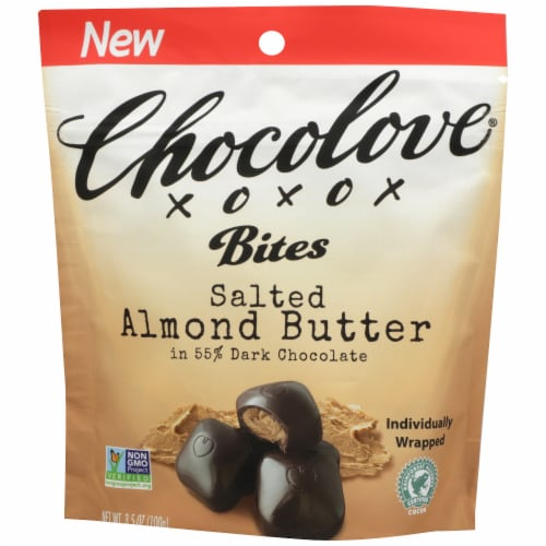 Chocolove Salted Almond Dark Chocolate Bites Perspective: front