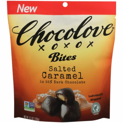 Chocolove Salted Caramel Dark Chocolate Bites Perspective: front