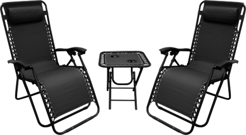 World Famous Sports Lounge Chairs & Folding Table Set Perspective: front