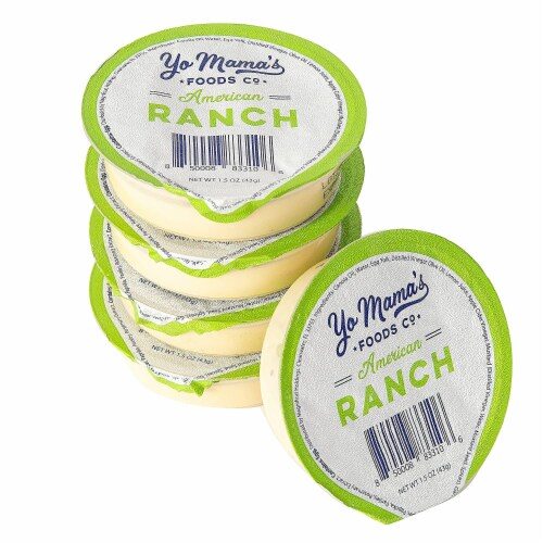 Yo Mama's Foods Keto Ranch Salad Dressing and Dip Cups - (135) 1.5 oz Single Serving Cups Perspective: front