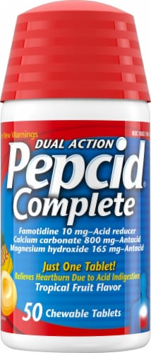 Pepcid Complete Dual Action Tropical Fruit Flavor Antacid Tablets Perspective: front