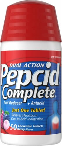 Pepcid Complete Dual Action Berry Flavor Chewable Tablets Perspective: front