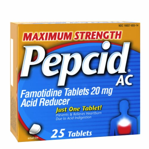Pepcid AC Maximum Strength Acid Reducer Tablets Perspective: front