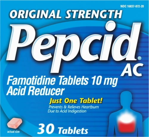 Pepcid AC Original Strength Acid Reducer Tablets 10mg Perspective: front