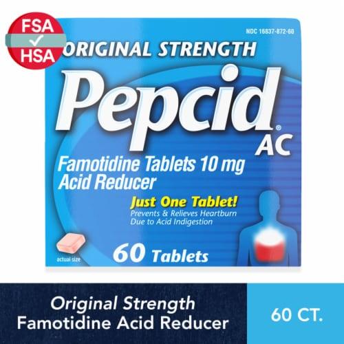 Pepcid AC Original Strength Famotidine Acid Reducer Tablets 10mg Perspective: front
